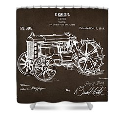 Shower Curtain featuring the drawing 1919 Henry Ford Tractor Patent Espresso by Nikki Marie Smith