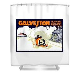 1920 Galveston Texas Auto Race Shower Curtain