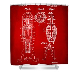 1921 Explosive Missle Patent Red Shower Curtain by Nikki Marie Smith