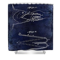 1922 Fish Mouth Opener Patent Drawing Blue Shower Curtain