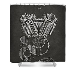 1923 Harley Engine Patent Art - Gray Shower Curtain by Nikki Marie Smith