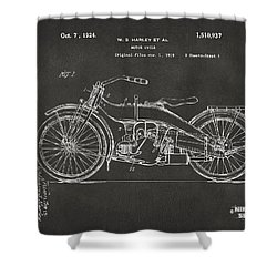 1924 Harley Motorcycle Patent Artwork - Gray Shower Curtain by Nikki Marie Smith