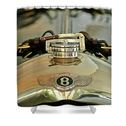 1925 Bentley 3-liter 100mph Supersports Brooklands Two-seater Radiator Cap Shower Curtain by Jill Reger