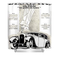 1928 - Delehaye Automobile Advertisement Shower Curtain