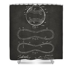 1928 Baseball Patent Artwork - Gray Shower Curtain by Nikki Marie Smith