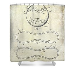 1928 Baseball Patent Drawing  Shower Curtain