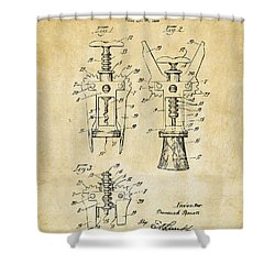 1928 Cork Extractor Patent Art - Vintage Black Shower Curtain by Nikki Marie Smith