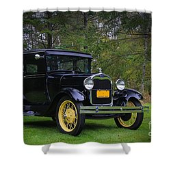 1928 Ford Model A Tudor Shower Curtain by Davandra Cribbie