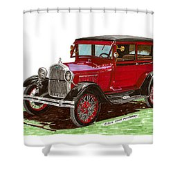 1928 Ford Model A Two Door Shower Curtain by Jack Pumphrey