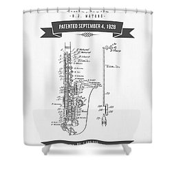 1928 Saxophone Patent Drawing Shower Curtain by Aged Pixel