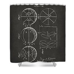 1929 Basketball Patent Artwork - Gray Shower Curtain by Nikki Marie Smith