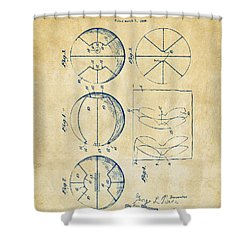 1929 Basketball Patent Artwork - Vintage Shower Curtain by Nikki Marie Smith