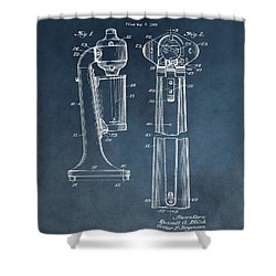 1930 Drink Mixer Patent Blue Shower Curtain by Dan Sproul