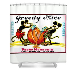 1930 Greedy Mice Crate Label Shower Curtain