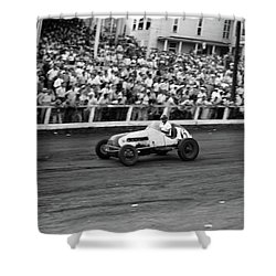 1930s 1940s Race Car Track And Crowd Shower Curtain