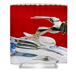 Shower Curtain featuring the photograph 1931 Chrysler Coupe Hood Ornament by Jill Reger