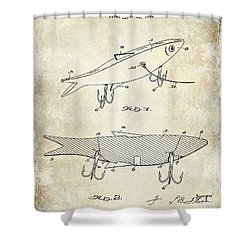 1931 Fish Bait Patent Drawing Shower Curtain