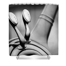 1931 Lincoln K Steering Wheel - Spark - Gas Controls -1865bw Shower Curtain by Jill Reger