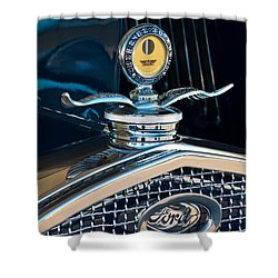 1931 Model A Ford Deluxe Roadster Hood Ornament Shower Curtain by Jill Reger