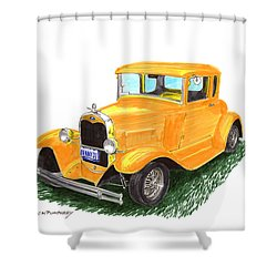 1931 Yellow Ford Coupe Shower Curtain by Jack Pumphrey