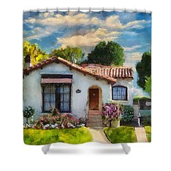 Alameda 1932  Spanish Beauty Shower Curtain by Linda Weinstock