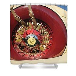 Shower Curtain featuring the photograph 1933 Auburn 12-161a Custom Speedster Spare Tire Emblem by Jill Reger