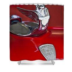 1933 Plymouth Hood Ornament Shower Curtain by Jill Reger