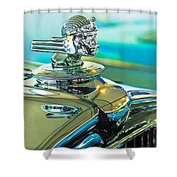 1933 Stutz Dv-32 Hood Ornament Shower Curtain by Jill Reger