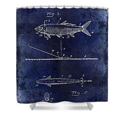 1934 Artificial Fish Lure Patent Drawing Blue Shower Curtain