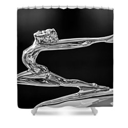 1934 Buick Goddess Hood Ornament -174bw Shower Curtain by Jill Reger