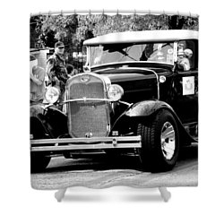 Shower Curtain featuring the photograph 1934 Classic Car In Black And White by Ester  Rogers