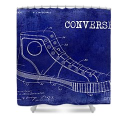 1934 Converse Shoe Patent Drawing Blue Shower Curtain