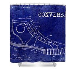 1934 Converse Shoe Patent Drawing Blue Shower Curtain by Jon Neidert