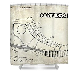 1934 Converse Shoe Patent Drawing Shower Curtain by Jon Neidert