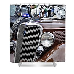 1934 Ford 6 Wheel Equip Front End Shower Curtain by Kaye Menner
