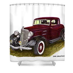 1934 Plymouth P E Coupe Shower Curtain by Jack Pumphrey