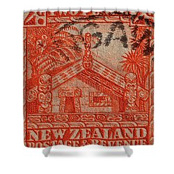 1935 Carved Maori House New Zealand Stamp Shower Curtain