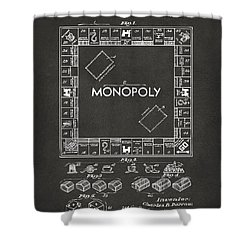 1935 Monopoly Game Board Patent Artwork - Gray Shower Curtain