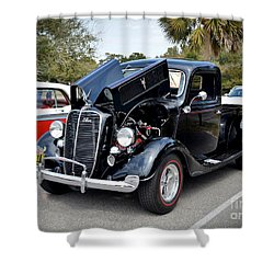 Shower Curtain featuring the photograph 1937 Ford Pick Up by Kathy Baccari