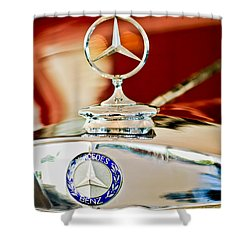 1937 Mercedes-benz Cabriolet Hood Ornament Shower Curtain by Jill Reger