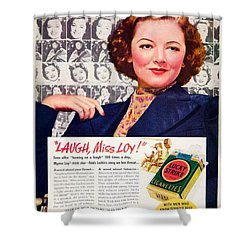 1938 - Lucky Strike Cigarettes Advertising - Myrna Loy - Color Shower Curtain