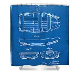 1938 Rowboat Patent Artwork - Blueprint Shower Curtain by Nikki Marie Smith