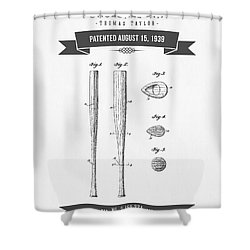 1939 Baseball Bat Patent Drawing Shower Curtain by Aged Pixel
