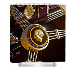 Shower Curtain featuring the photograph 1939 Ford Standard Woody Steering Wheel by Jill Reger