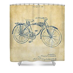 1939 Schwinn Bicycle Patent Artwork Vintage Shower Curtain by Nikki Marie Smith