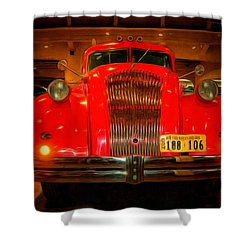 1939 World's Fair Fire Engine Shower Curtain by MJ Olsen