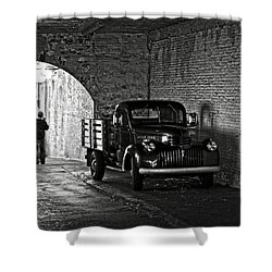 1940 Chevrolet Pickup Truck In Alcatraz Prison Shower Curtain by RicardMN Photography