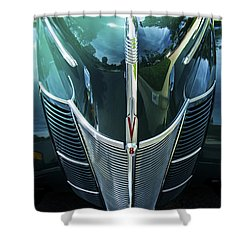 Shower Curtain featuring the photograph 1940 Ford Classic Deluxe Two Door Sedan V-8 by Jerry Cowart