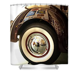 Shower Curtain featuring the photograph Classic Maroon 1940 Ford Rear Fender And Wheel   by Jerry Cowart