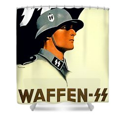 1941 - German Waffen Ss Recruitment Poster - Nazi - Color Shower Curtain